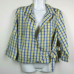 Allison Taylor Womens Blouse 3/4 Sleeve Plaid Tie